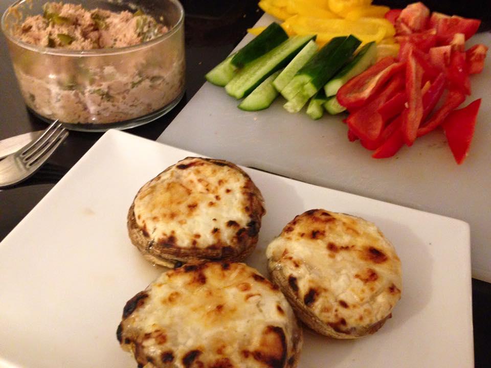 פטריות עם גבינת עיזים ופרמזן